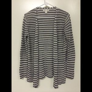 Coldwater Creek Striped Open Front Knit Cardigan